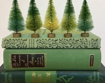 3 Blended Green Bottlebrush Trees, Set of three colorful mini bottlebrush trees, Charlie Brown Trees, mini tree farm in a bag!