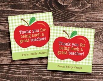 Personalized Teacher Appreciation Gift Tags or Stickers – DIY Printable – Red Apple (Digital File)