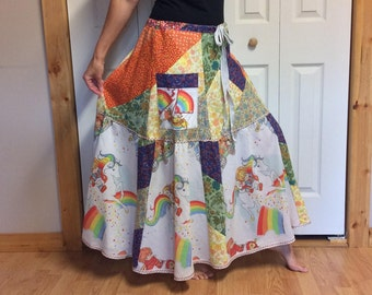 Rainbow Brite Patchwork Long Skirt with Pockets/Upcycled Clothes/Hippie Skirt/Colorful/Cotton/Vintage Cartoons/1983/Womens Size Medium Large