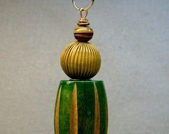 Vintage Green WOOD Bead Fan Pull Bead BRASS Ceiling Light Pull