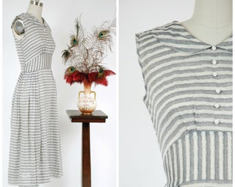 Vintage 1950s Dress - Sheer, Lightweight Grey and White Striped Cotton 50s Summer Day Dress with Buttons