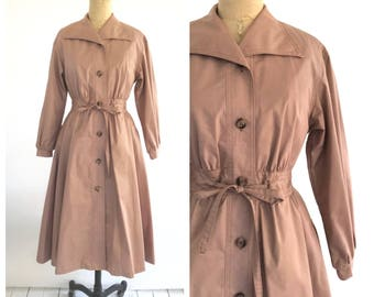blush trench coat   vintage trench coat   60s overcoat