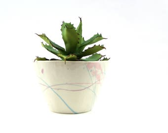 Planter with Abstract Expressionist Decoration