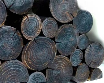 Blackened DECORATIVE LOGS - Charred - Black - Dark - Moody - log stack - log display - feature - accent - fill an empty fireplace