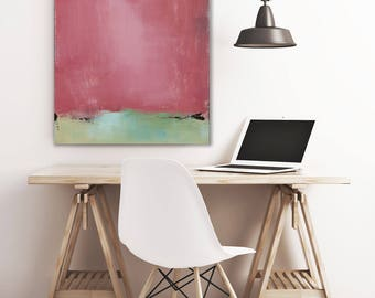 Ready to Hang Minimalist Abstract Landscape Print on Canvas, Large Canvas Print, New England Landscape Wall Art Color options Blue Red Green