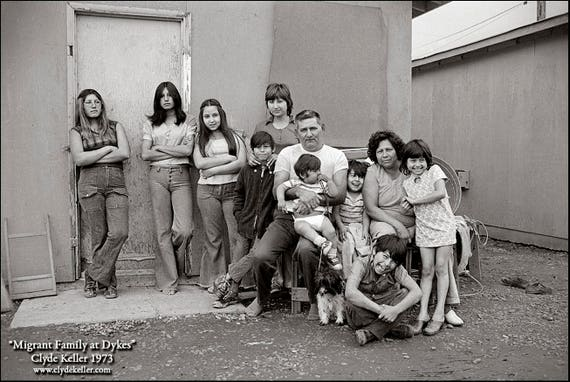 MIGRANT FAMILY at DYKES, Clyde Keller photo, 1973, Fine Art Print, Black and White, Signed