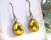 Topaz Vintage Earrings, November Birthstone, Estate Style Earrings, Golden Topaz Rhinestone