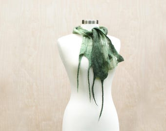 Sheer Green Silk And Wool Scarf Handmade Nuno Felt Fashion Scarf Soft Womens Fashion Scarves Wearable Art Earthy Eco - READY TO SHIP