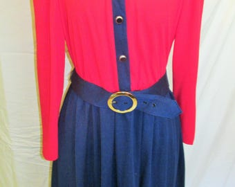 Vintage Tabby Of California Dress Red Navy Blue Military Inspired Vintage Work Office Dress With Belt Long Sleeve Knit Size 14