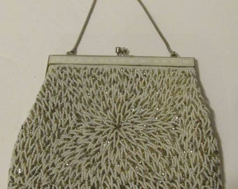Vintage Beaded Purse Evening Bag Silver Beaded Handbag White Beaded Bag Fancy Frame Kiss Clasp Wedding Purse Bridal Bag 1960s 60s