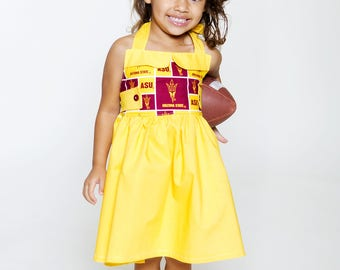 Team Collection Sport your favorite team -U Pick Team- Ginger Halter Dress size 6-12 mos up to girls size 10 - ASU Football, basketball