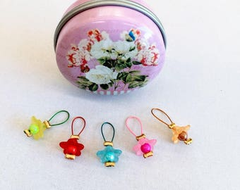 Stitch Markers in a Notions Tin - Set of 5 Stitch Markers of your choice