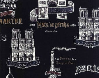 Bienvenue A Paris Fabric French Landmark Fabric Sacre Coure Montmartre L'Arc De Triomphe Tour Eiffel BTY By The Yard