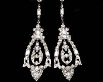 Long Earrings Art Deco Earrings 1920s Earrings 1930s Earrings Pendant Earrings Vintage Early Trifari Dangle Screw Back Bridal Earrings