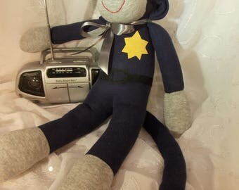 Unique Police Sock Monkey, Thin Blue Line, New Darker Blue, Limited Edition, Personalized, Toy Doll Stuffed Animal, Limited Edition