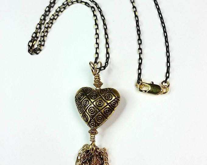 Gold Heart Pendant - Pendant with Tassel - Heart Pendant with Chain Tassel - Heart Pendant - Tassels are In - Gift of Love