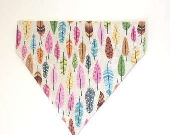 Pet Accessory - Colorful Hippie Feathers - Over the Collar - Custom - Bandana, Bow Tie, Neck Tie, Flower