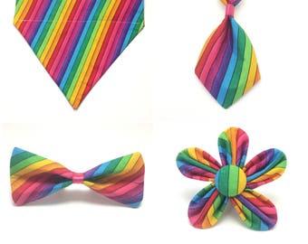 Pet Accessory - Rainbow Striped - Over the Collar - Custom - Bandana, Bow Tie, Neck Tie, Flower