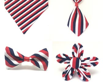 Pet Accessory - Red, White, Blue Patriotic Stripes - Over the Collar - Custom - Bandana, Bow Tie, Neck Tie, Flower