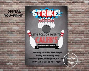 Bowling Birthday invitation, Bowling Invitation, DIGITAL, YOU PRINT, Bowling Birthday Party, Bowling evite,Bowling Invitations,Bowling Party