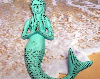 Mermaid Cast Iron Wall Hook Praying Hands Shabby Chic Blue Cottage Chic Beach House Home Decor