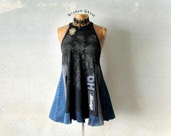 High Neck Tank Denim Tunic Boho Women Top Fitted Bust Black Flare Shirt Swing Top Rustic Clothes Grunge Clothing Altered Tshirt XL  'JASMINE