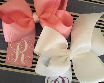 Monogrammed Large Boutique bow YOU CHOOSE COLOR