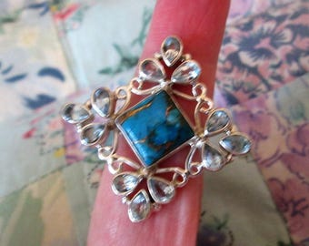RING  - Large - TURQUOISE - Blue TOPAZ - 925 - Sterling Silver - size 8 -  Turquoise183