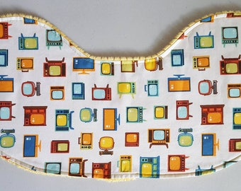 Baby Burp Cloth - Retro Vintage TV's on Yellow Gold Minky, Vintage Television Burp Cloth Contoured Minky Burpie