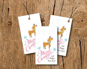 INSTANT UPLOAD - Vintage Christmas Tags, Teacher Gift Tags, Holiday Gift Tag,Retro Deer Tag,Christmas Gift Tag,Teacher Holiday Tag, Xmas Tag