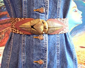 Cinch Belt, Leopard, Stretch belt, 80s, Brown, waist belt, M