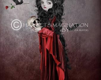 Vampire Art Print - Vampire & Bats - Draculas Bride - Gothic Art - Sorry