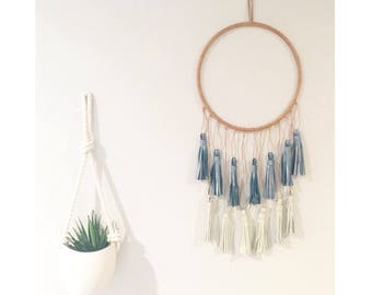 Leather Tassel Wall Hanging - Small -Pearl Blue Ivory  - decor home house wall hanging decoration art work artwork nursery dreamcatcher