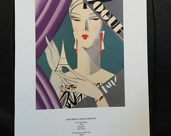 Eduardo Garcia Benito Art Deco Fashion Print Illustration, Chic Girly Room Decor, Libiszewski on Reverse, Vintage Book Page Wall Art