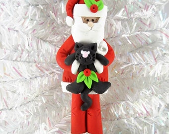 Santa with a Cat Christmas Ornament - Handmade Polymer Clay - Cat Owner Ornament - Gift for Cat Owner - Pet Owner Ornament -12141