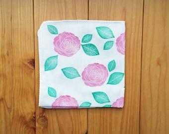 camellia handkerchief. botanical japanese tenugui pure cotton baby wipe. hand stamped bath cloth. women's hankie, wedding birthday gifts