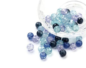 8mm mixed blue crackle glass beads - set of 100