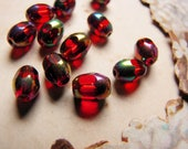 very rare White Snake Japan red Scarabee glass beads - 1950s - 7mm - 12 beads