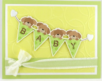 Baby shower, baby boy, baby girl, puppy, gender neutral baby card, heart, green white brown