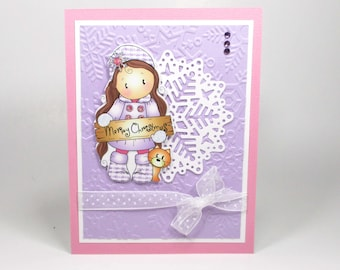 Handmade Christmas cards, Kid's Christmas card,  Christmas cards for girls, personalized cards,  Holiday cards,  Christmas cards