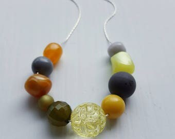 whiskey sour necklace - vintage lucite, remixed - muted colors - lemon, ochre, lime, grey