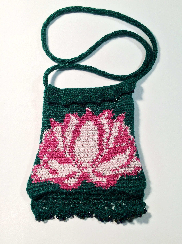 Water Lily Purse Crochet Mini Purse Tapestry Crochet Flower Purse