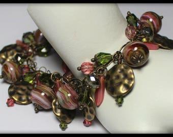 Handmade Jewelry, Handmade Bracelet, Lampwork Bracelet, Glass, Crystal, Cha Cha, Bracelet, Rose, Pink, Sage, Olive, Green, Antique Brass