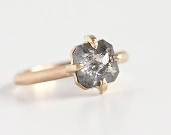 Salt and Pepper Diamond Engagement Ring in 14k Yellow Gold - Rose Emerald Cushion Cut - Boho Engagement Ring