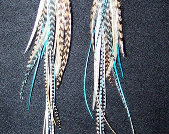 Beautiful Feather Earrings, Blue and Brown Feathers, Big Earrings, Blue Hair Extensions, Blue Feather Extensions, Boho, Bohemian Earrings