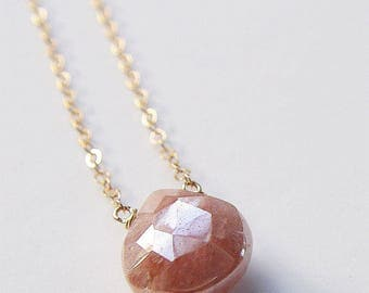 SALE Pearl Moonstone Peach Gold Necklace