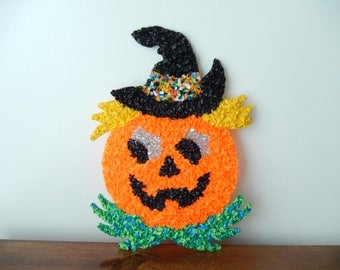 vintage Halloween decor, pumpkin face, black hat, popcorn melted plastic, Halloween party, wall decor