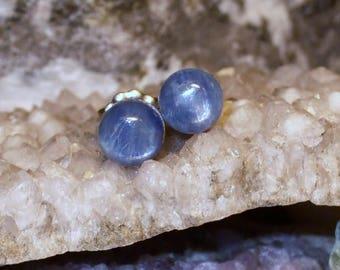 6mm Blue Kyanite Titanium Studs Earrings Earings Hypo Allergenic Made in Newfoundland Throat Chakra