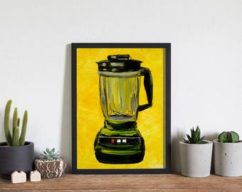 Green Blender on Yellow by Katrina Hendrix, acrylic art print 5x7, kitchen art, vintage, retro, antique