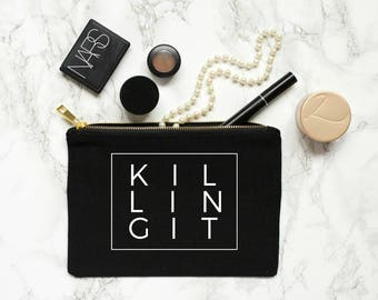 killing it - pouch makeup bag cosmetic bag bachelorette party gift bridal party gift gift for her killing it tank